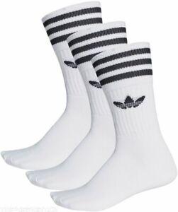 Adidas Unisex Originals Socks Solid Crew White Cotton Trefoil Logo Men Sport Gym