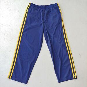 Vtg Solare Sporta Navy Blue & Yellow Snap Tear Away Pants Men XL Actual 34x28