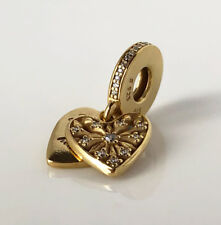 Genuine PANDORA Heart of Winter Hanging Silver Charm 14k Gold Plated 796372CZ