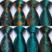 Mens Silk Tie Set Teal Green Paisley Floral Striped Necktie Hanky Cufflinks