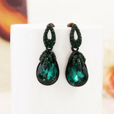 Bohemia Vintage Antique Style Designer Emerald Green Crystals Stud Earring IE10