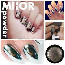 2g/box Silver Effect Mirror Chrome Nail Powder Pigment No Polish Foil Glitter
