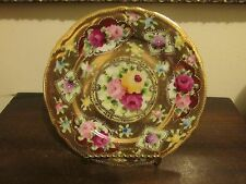 """Nippon Handpainted Cabinet Plate Heavy Gold Roses Moriage Unmarked 7.5"""""""