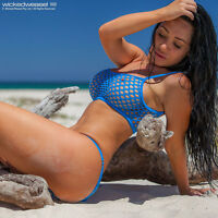 Brand New *Discontinued* Wicked Weasel Mega Mesh in Blue 3 piece bikini set