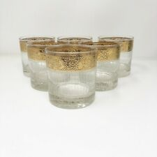 """New listing Culver """"Tyrol� Set of 6 Double Old Fashion Gold Rim w/Vertical Lines Low Ball"""