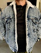 Rare Mens Levi Denim Jacket Medium Acid Wash VTG Blue Jean Trucker Sherpa Fur