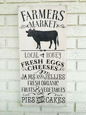 "Large Rustic Wood Sign - ""Farmer's Market...."" Primitive, Country, Farm, White"