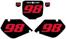 1998-1999 HONDA CR125 Custom Pre-Printed Black Backgrounds Red Numbers