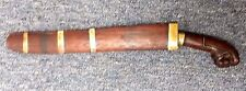Old Wood Carved Philippine Bolo Moro Clenched Fist Handle Knife & Scabbard 17.5""