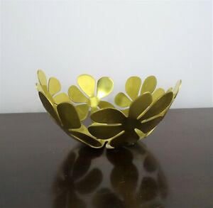 "IKEA Stockholm Monika Mulder Design 8"" Daisy Floral Decorative Bowl Gold Brass"