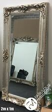 LARGE Stunning Antique Silver Decorative Ornate Beveled Mirror - 2m x 1m - DALIA