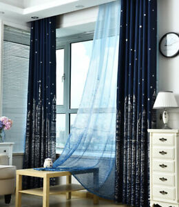 Water Castle Silver Plating Blockout Dark Blue Cloth Curtains Sheer 1 Panel 96""