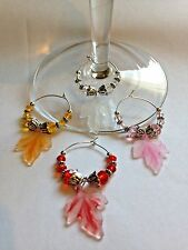 fall/autumn leaves/leaf wine glass charms set of 4 acrylic leaves