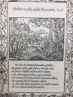 Orphée Lyre 1559 Musique Légende d'Adonis Cygne Bacchante Rare Gravure sur Bois