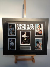 UNIQUE PROFESSIONALLY FRAMED, SIGNED MICHAEL JACKSON PHOTO COLLAGE WITH PLAQUE.