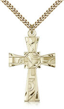 "Gold Filled Cross Necklace For Men On 24"" Chain - 30 Day Money Back Guarantee"