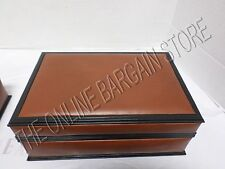 Pottery Barn Vintage Leather Jewelry watch Earrings Storage Box Bin Mens