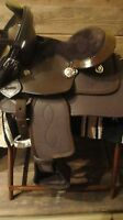 "Miniature Mini Horse & Donkey BROWN Leather/Kordura 8"" Western Saddle PACKAGE"