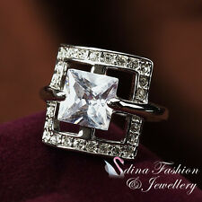 Fashion Large Square Cut Ring 18Ct White Gold Plated Simulated Diamonds