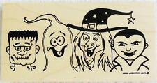 Northwoods rubber stamp Halloween Mummy Ghost Witch Dracula Heads Costumes