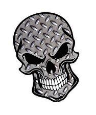 Ciclista cráneo gótico y metal Chequer Placa Motivo Vinilo Coche Moto Adhesivo Calcomanía