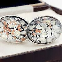 Beautiful Vintage White Silver Glass Fire Opal - Oval Silver Plated Cufflinks