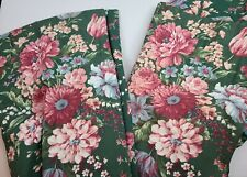 Croscill Discontinued Vintage Granada Green and Pink Floral Lined Drapery Pair