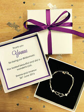 PERSONALISED THANK YOU GIFT PRESENT BRIDESMAID MAID OF HONOUR PURPLE FAVOUR BOX