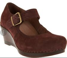 NEW DANSKO Sandra Mary Jane Wedge Raisin Nubuck Suede Shoes, Size 41, $150