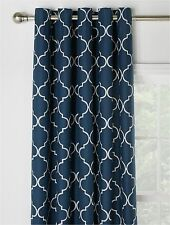 """Moroccan Tile Print Fully Lined Eyelet Curtains 66x90"""" 168x228cm Dark Navy Blue"""
