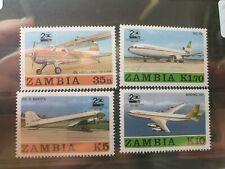Zambia 1987 20th Anniv of Zambia Airways, Aircraft set of 4, MNH