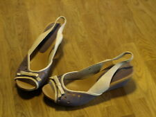 Staccato size 41 lilac and cream leather slingback shoes BNWOT