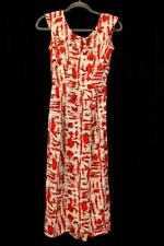 Vintage 40s RETRO PRINTED DRESS Red Fit and Flare Mid Length Buttons SMALL