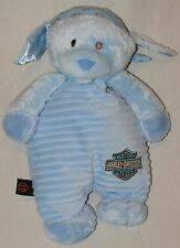 Harley Davidson Plush Blue Puppy Dog Satin Crinkle Ears Stuffed Baby Toy 12""