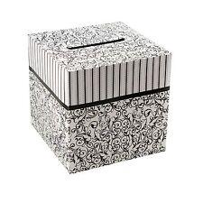 "10"" x 10"" White & Black Stripes Swirling Design Wedding Reception Cardboard Box"