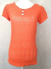 Womens Lucky Brand Live in Love small shirt Knit Crochet short sleeve orange