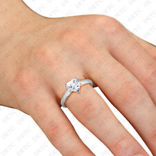 Solitaire Ring Heart Cz 1.2ct Center Stone Ladies 14K White Gold Over 925 Silver