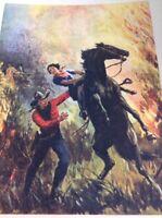 Ephemera 1936 Book Plate 8x5.5 Inch Cowboy Rescues Girl Horse In Fire
