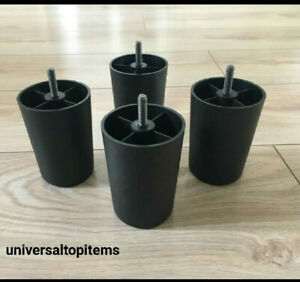 4 x pcs Plastic Black Legs for uk Sofa Cabinets DIY Furniture chair settee bed