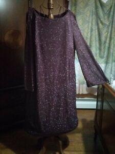 Sz 18W R&M Richards Lined Stretch Purple Sparkle Dress Long Sleeve Cold Shoulder