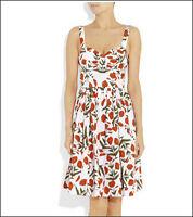 $890 Auth Oscar De La Renta White & Red Poppy Print Cotton Fit&Flare Dress Sz 12