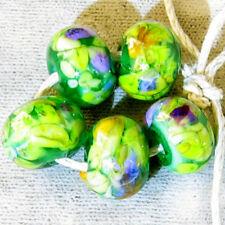 DFJ Lampwork 5 USA Handmade Glass Spacer Beads ~Tahoe Meadow~Purple Green SRA