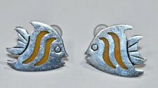 Adorable Mexico Sterling Silver 925 YELLOW Enamel FISH Animal Post Earrings