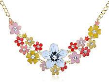 Charming Spring Floral Flower Enamel Clear Crystal Rhinestone Pendant Necklace