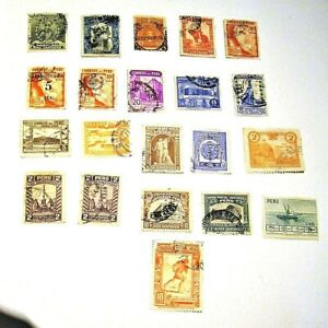 PERU, 1900-1949,  Lot of (21) USED, Hinged Stamps