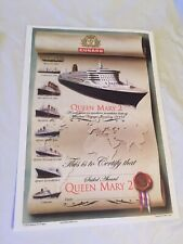 New Cunard Qm2 Queen Mary 2 Cruise Passenger Certificate Maiden Voyage Jan 2004