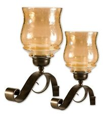 Iron Scroll Amber Glass Candle Holder Set | Old World Hurricane Set Bronze
