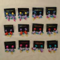 VINTAGE RETRO 80s MULTICOLOR GEOMETRIC DROP EARRINGS NOS LOT 12 PAIR FREE S&H CW
