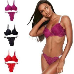 Lace Bikini Rhinestone Lingerie Briefs Set Push Up Bra Panty 2 Piece For Women