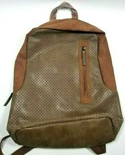 Volkano Punk Series Backpack Tan Faux Leather Laptop Sleeve New With Tag